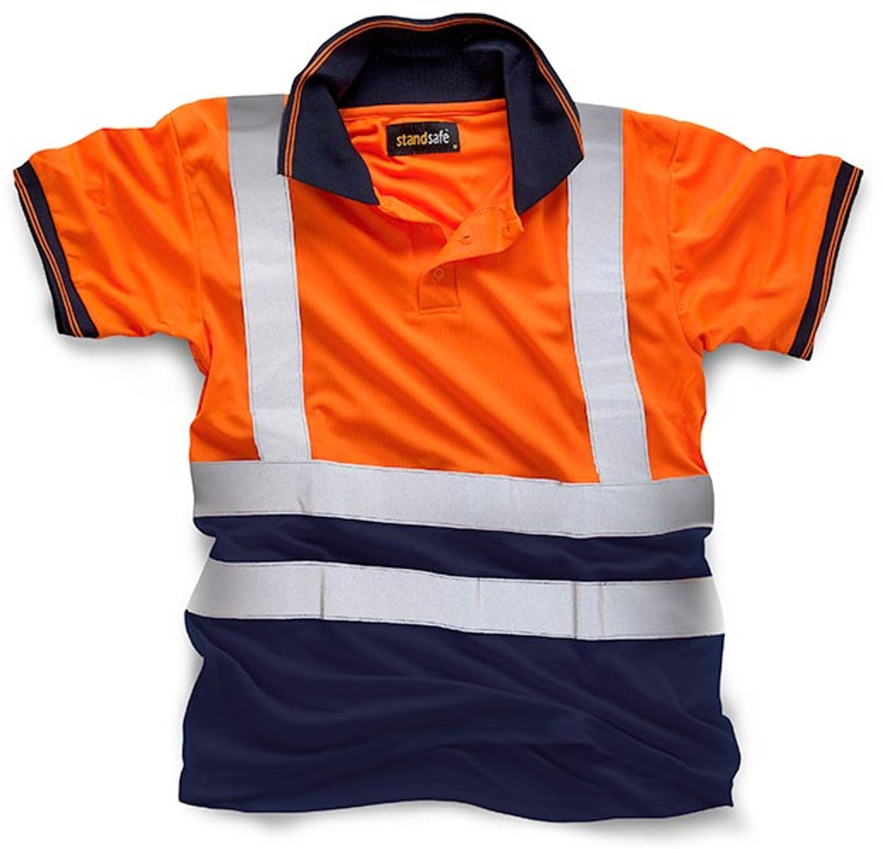 New mens high visibility standsafe work wear hi vis short for Mens work polo shirts