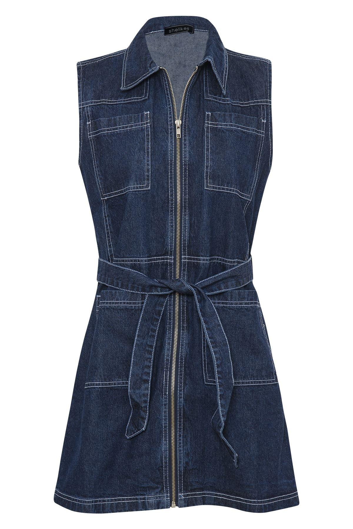 Womens Denim Sleeveless Zip Front Pockets Shirt Collar