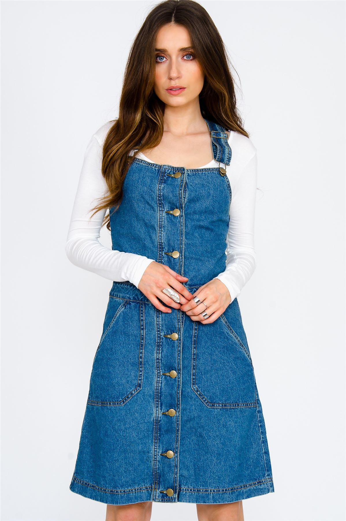 This is a lovely ladies dungaree dress. The dress is colored in blue and white stripes, and will help the wearer to look like a queen! It is a very high duty material and will be able to be washed inside the machine, and worn to any event you have planned.
