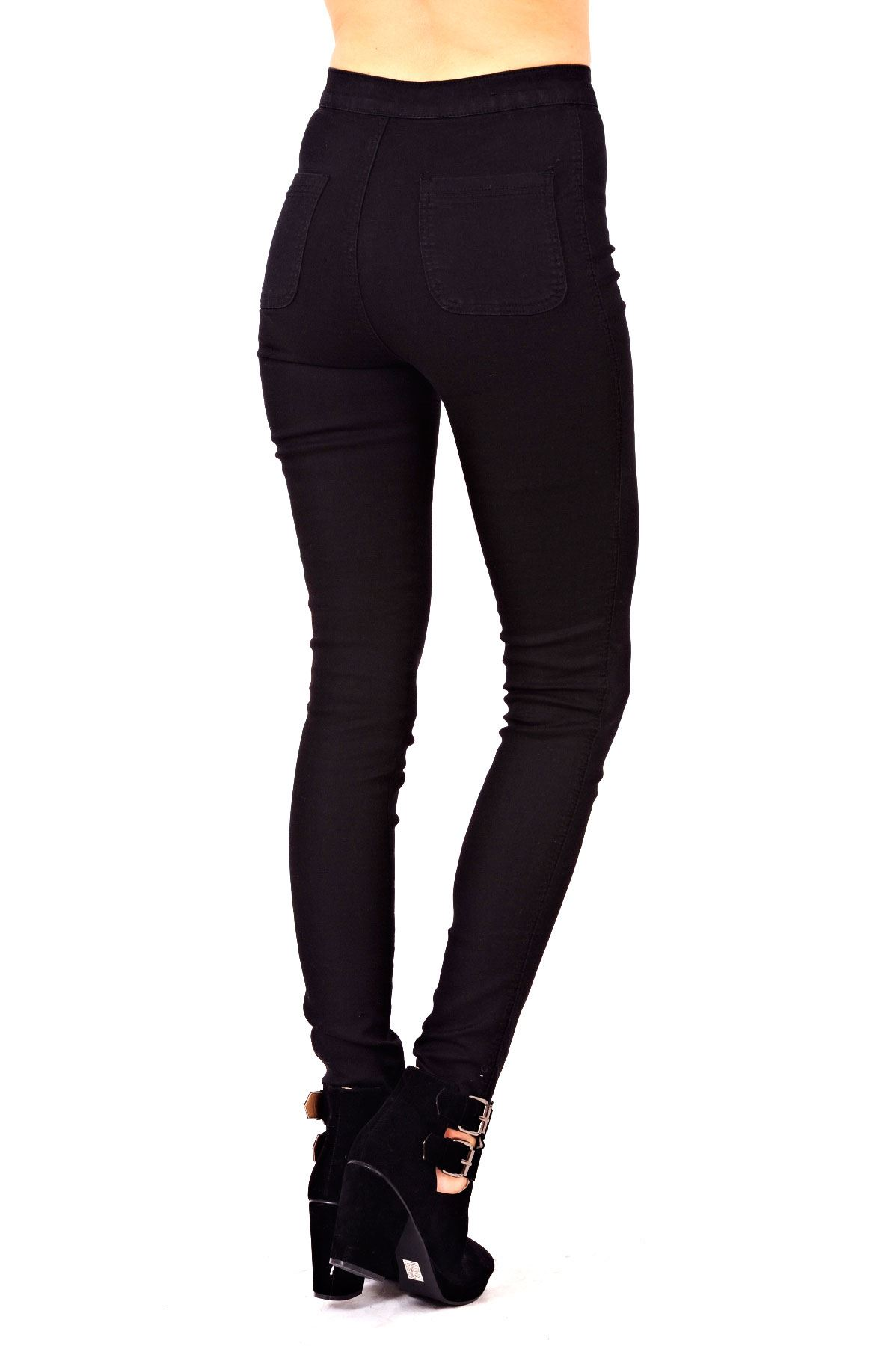 New Womens Ladies Skinny Slim Fit High Waisted Stretch Denim Black Jeans Trouser