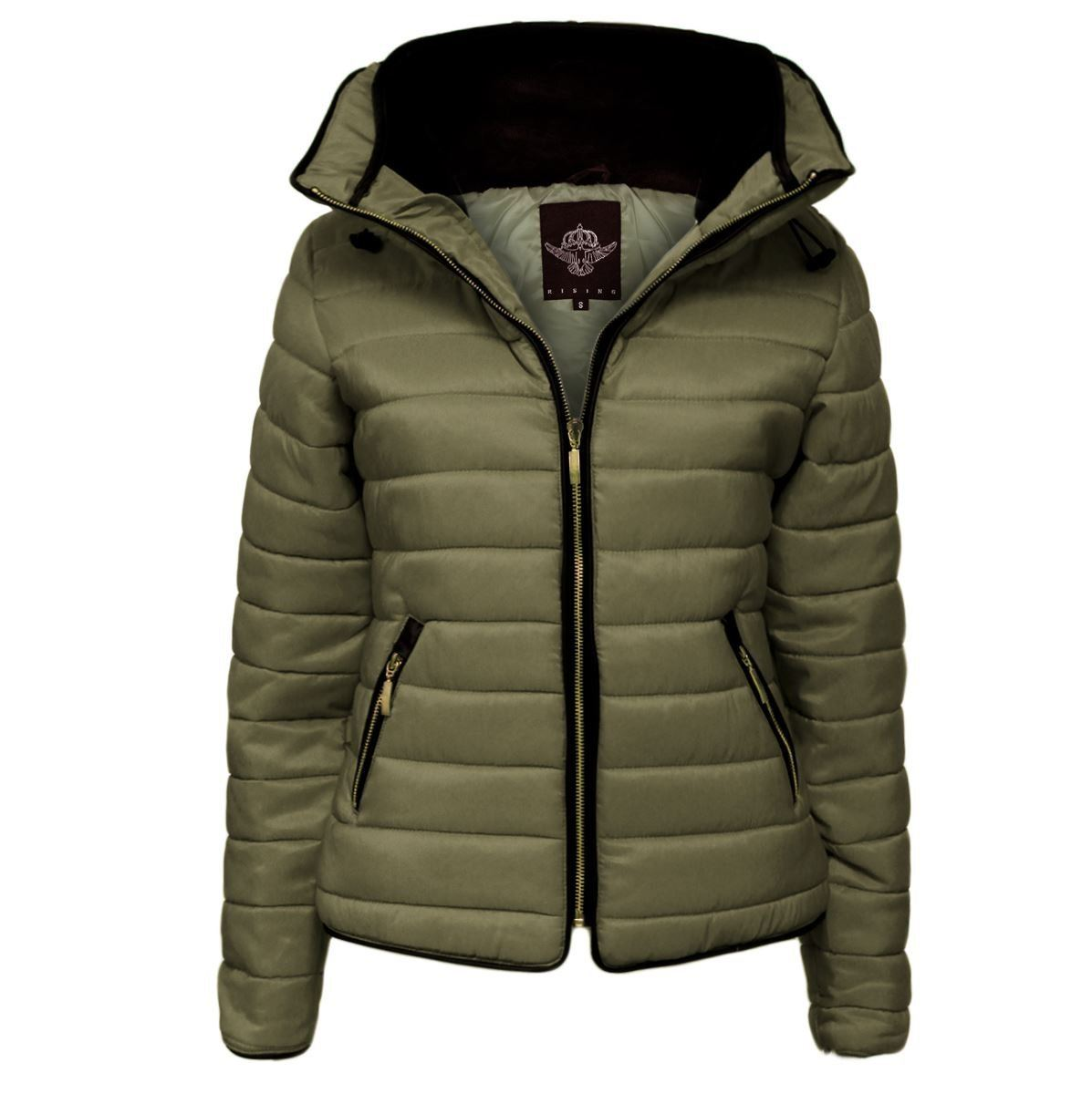 Womens Quilted Padded Hooded Gold Zip Bubble Fur Collar Warm Thick ... : quilted padded coat - Adamdwight.com