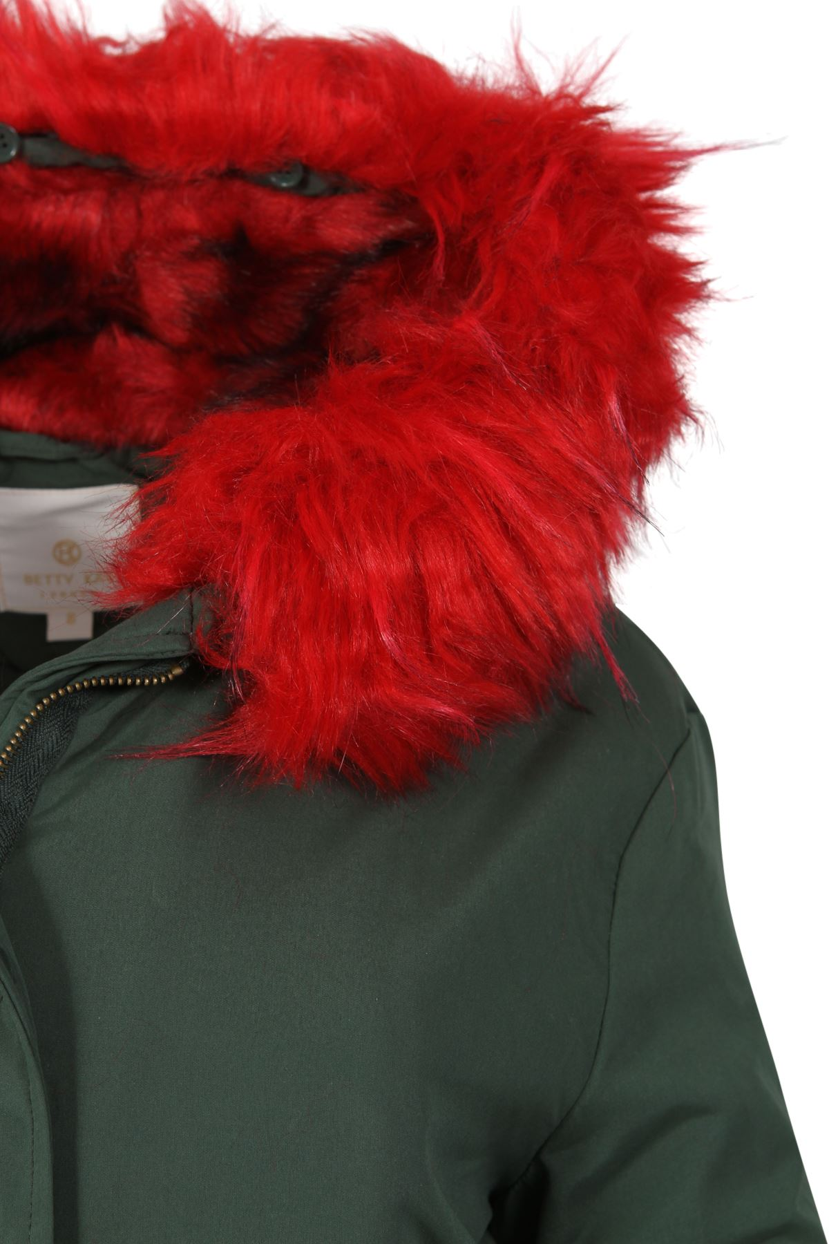 Womens-Padded-Lined-Parka-Red-Faux-Fur-Trim-Hooded-Thick-Warm-Winter-Jacket-Coat thumbnail 3