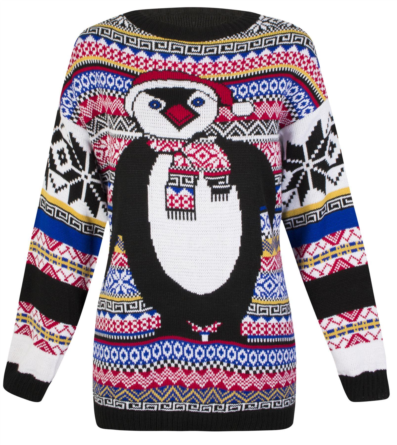 Knitting Lady Penguins : Womens knitted fairisle penguin christmas novelty sweater