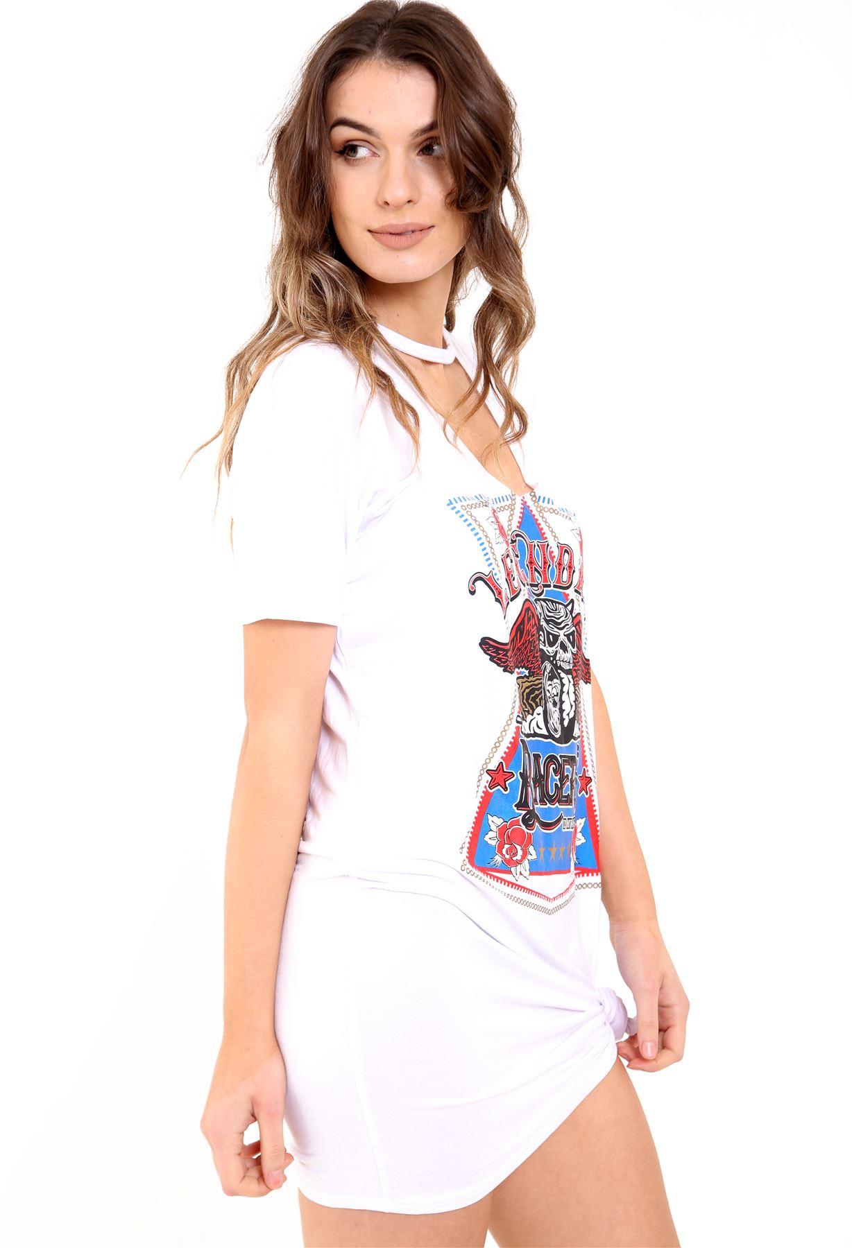 New Womens Ladies Choke V Neck Plus Size Screen Printed T Shirt