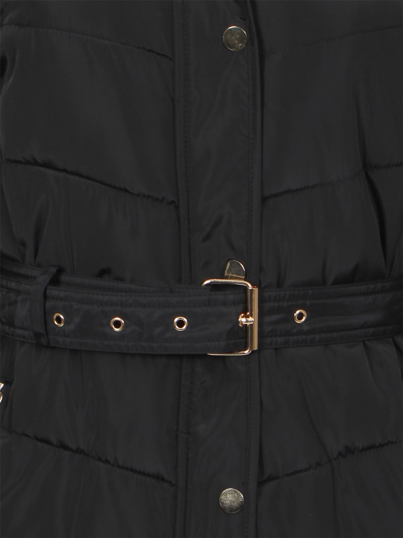 Womens-Coat-Parka-Waist-Belt-Fur-Zipped-Padded-Quilted-Jacket-Black-Hood-UK-8-16 thumbnail 5