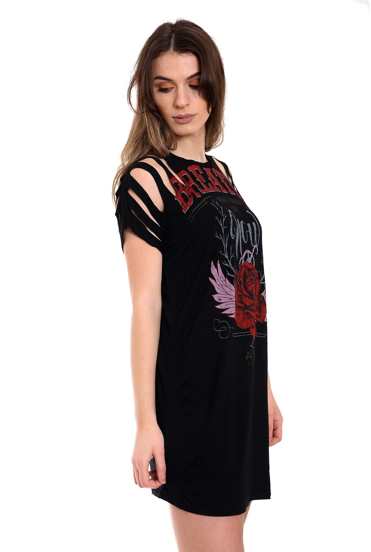 Black t shirt dress ebay - Womens Ladies Laser Cut Ripped Distress Floral Rose