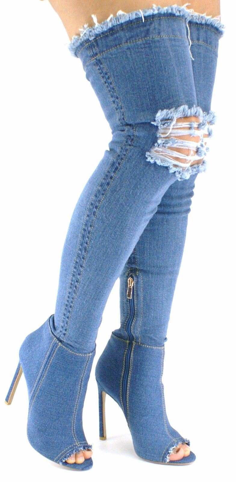 Model Denim Boots For Women | Blue Denim Jean Open Toe Mid Calf Boot Flat Dress Sandal Womens Shoes ...