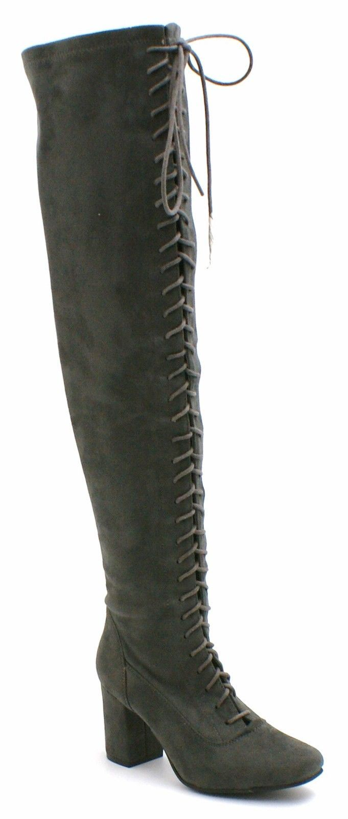 womens faux suede knee high mid block heel boots ankle