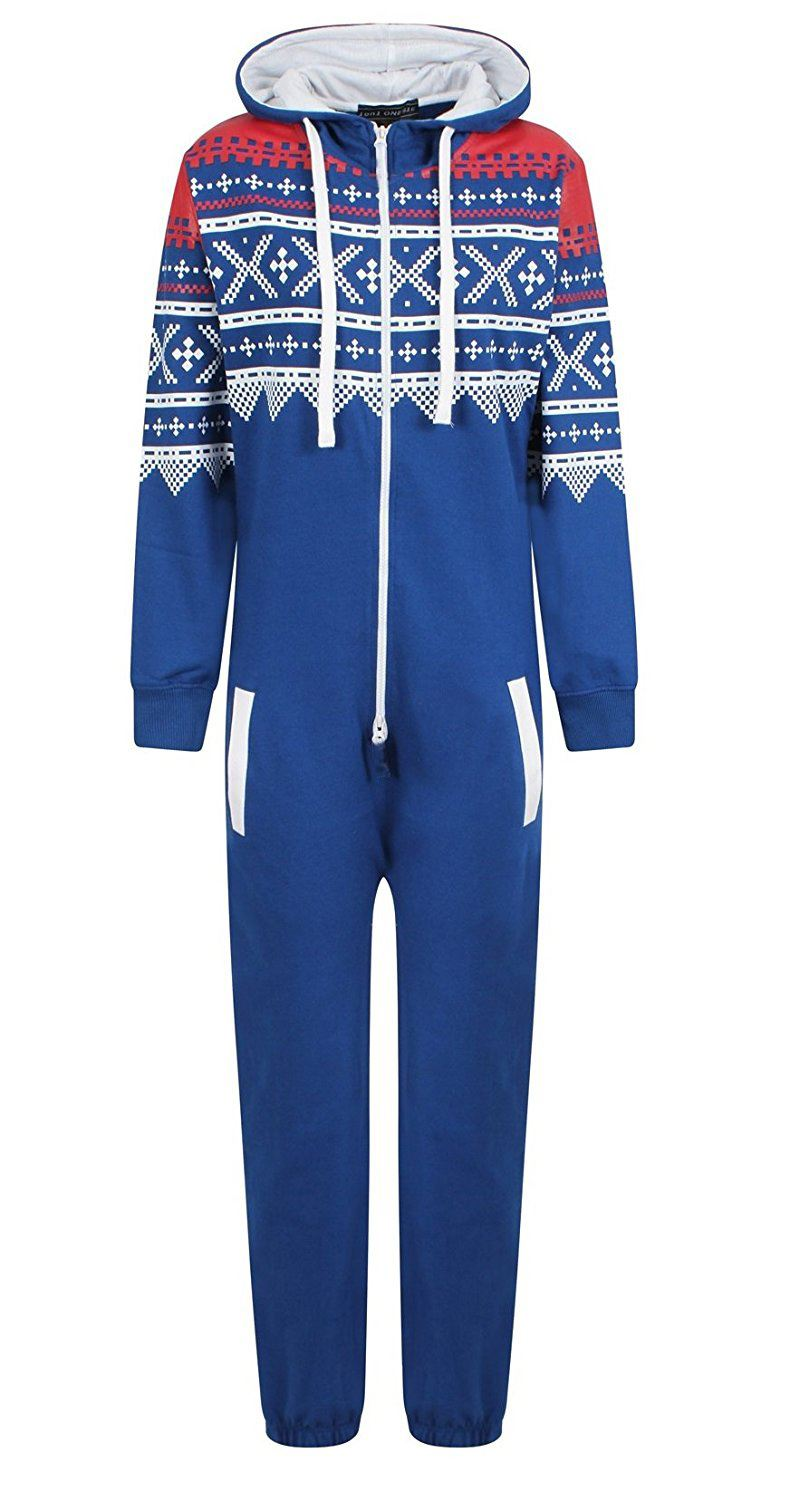 New-Unisex-Kids-Boys-Girls-Aztec-Print-Zipped-Hooded-One-Piece-Jumpsuit-7-14-Yrs