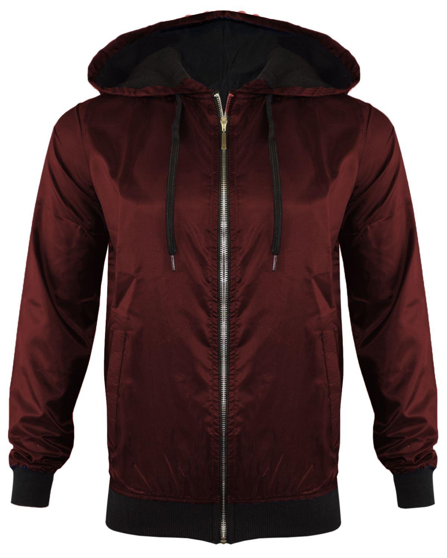 Unisex New Mens Anorak Light Weight Hooded Rain Coat Look ZIP Bomber Jacket TOP