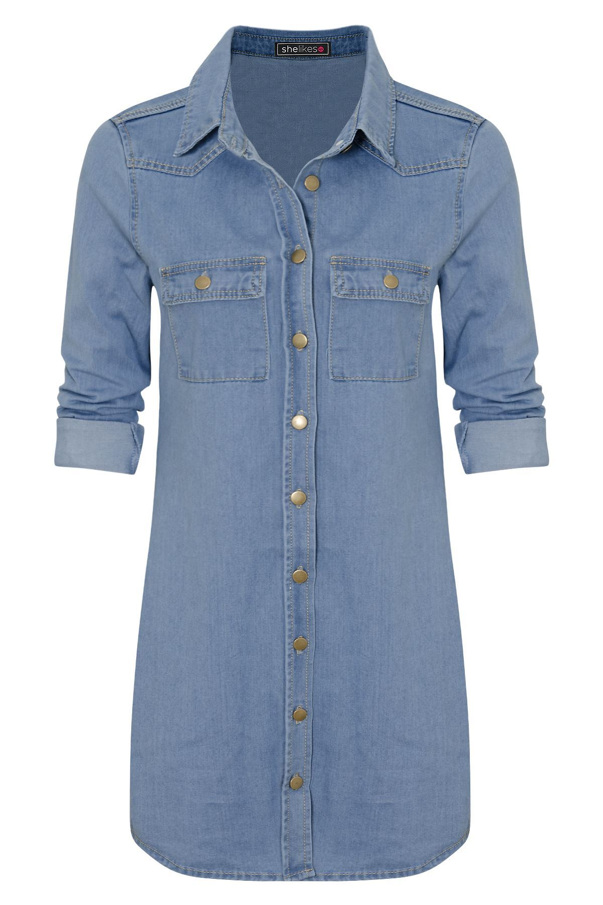 Womens casual cotton button down vintage long sleeve denim for Women s button down dress shirts