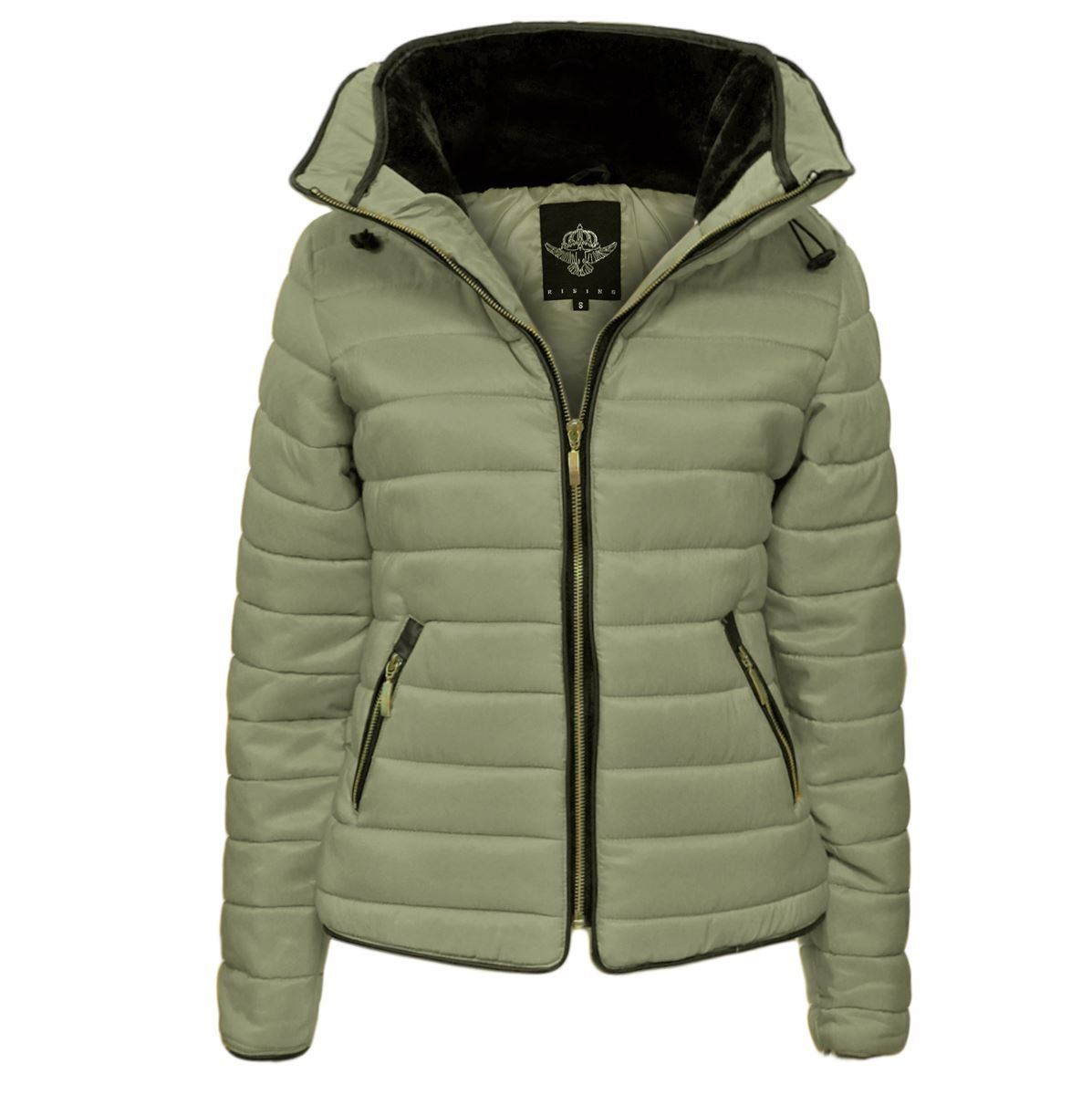 Womens Quilted Padded Jacket Hooded Gold Puffer Bubble Fur