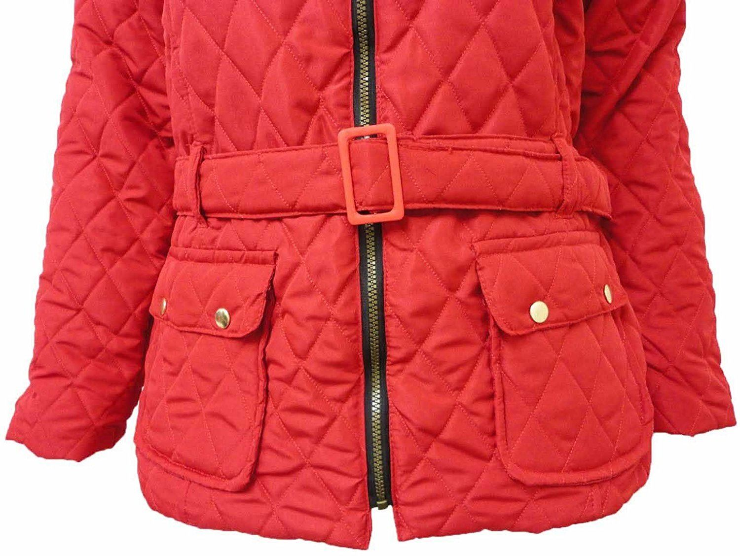 Womens Plus Collar Belted Padded Jacket Winter Coat ...