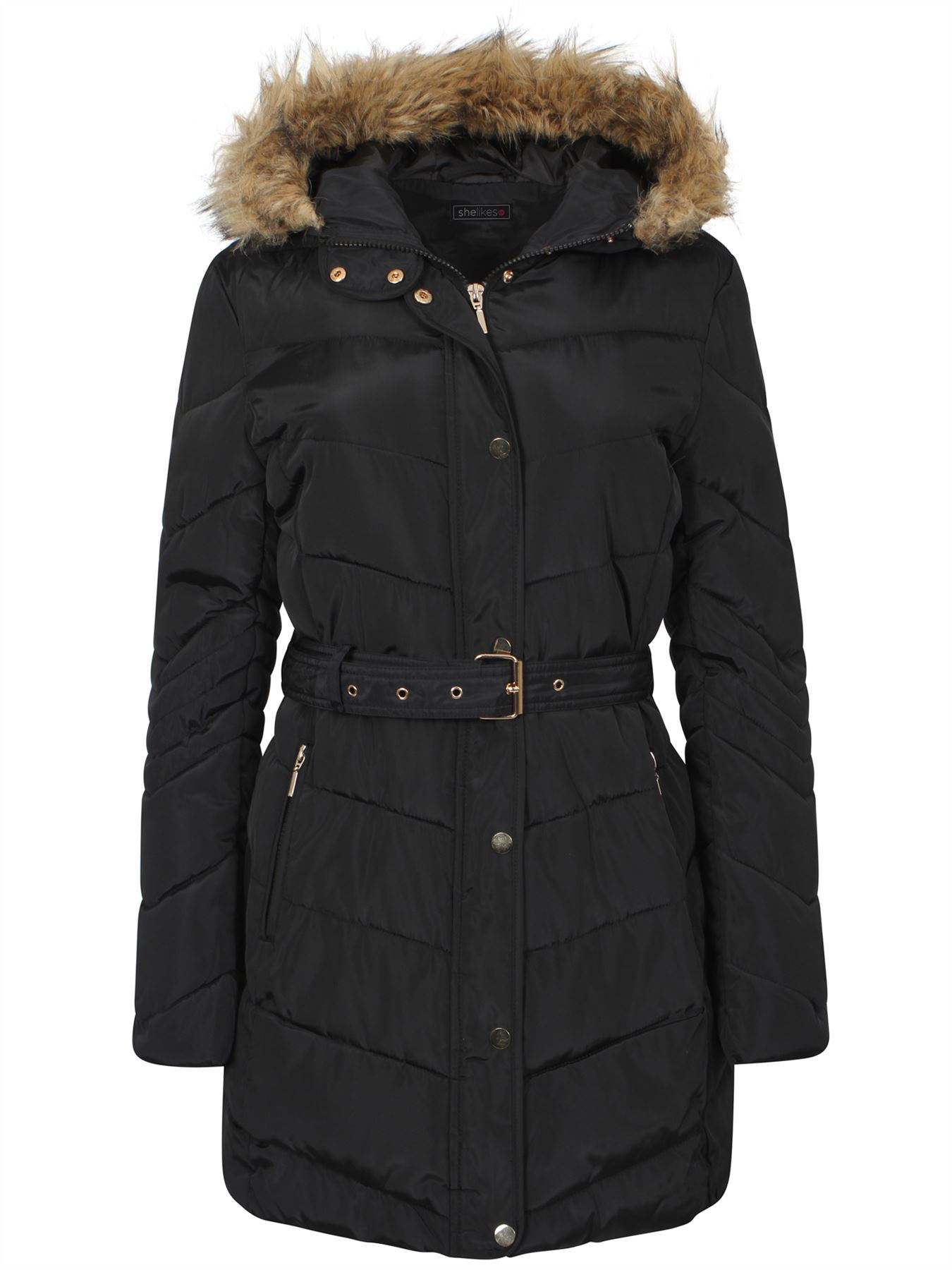 Womens-Coat-Parka-Waist-Belt-Fur-Zipped-Padded-Quilted-Jacket-Black-Hood-UK-8-16 thumbnail 3