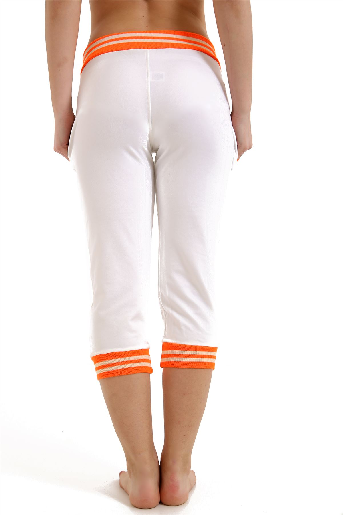 New Womens Contrast Sports Three Quarters Gym Jogging Pants Athletic Trousers