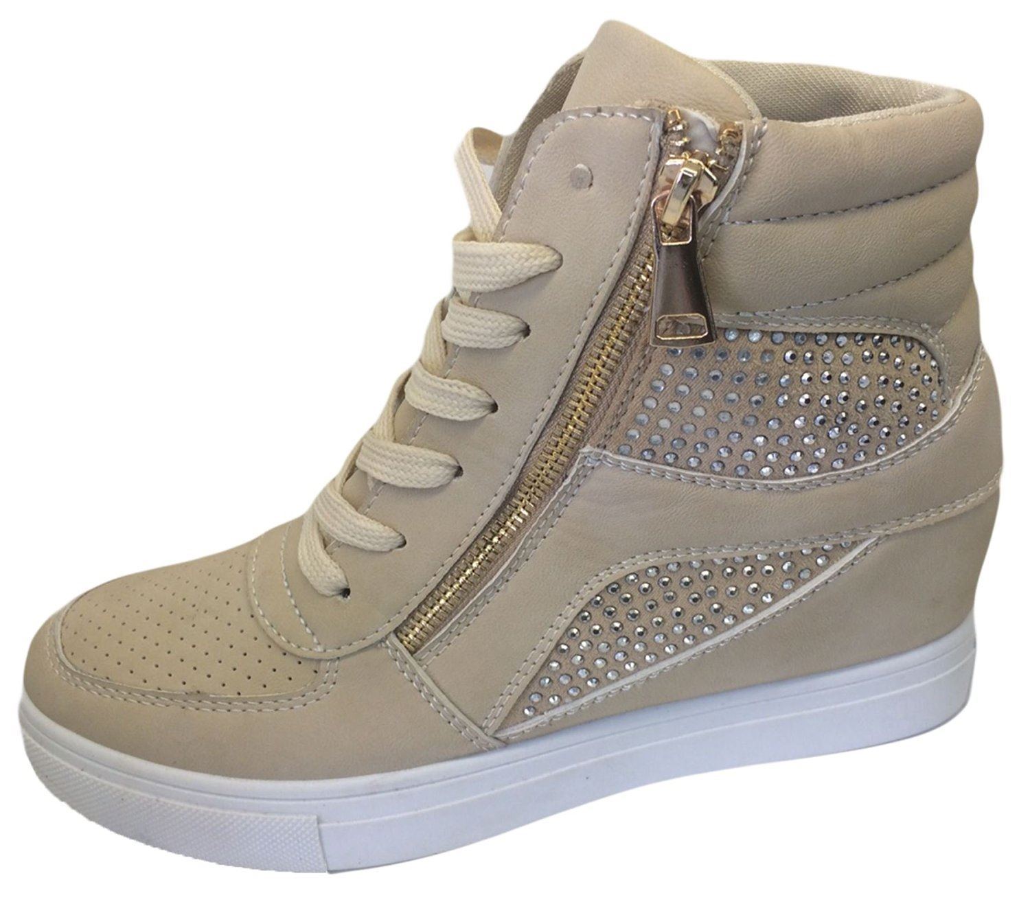 Womens Girls Diamante Wedge Heel Ankle High Top Trainers ...