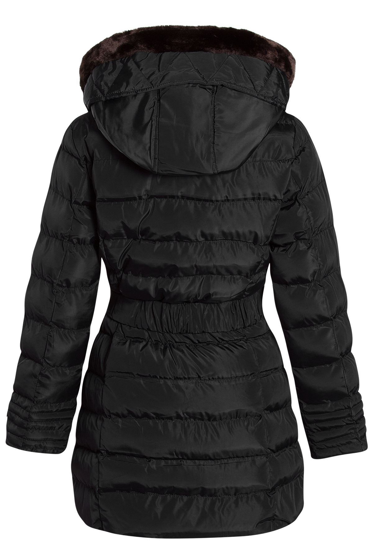 Womens Faux Fur Trim Hooded Quilted Padded Warm Long ...