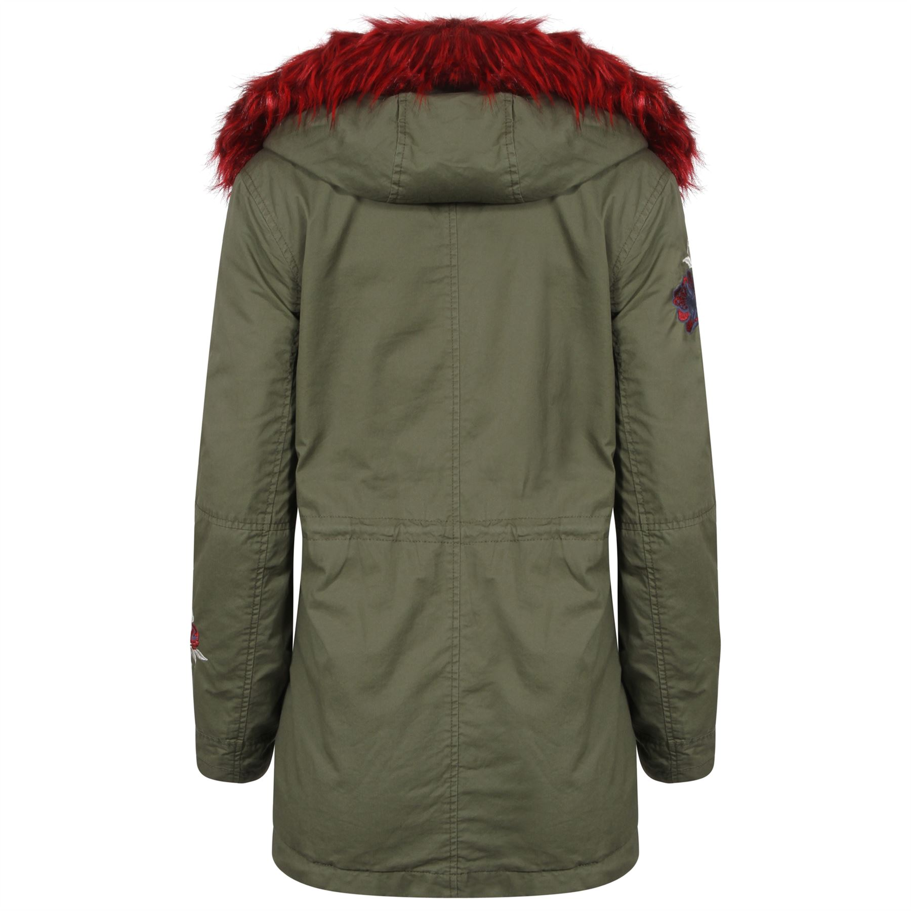 Coat 8 Parka Womens Flower Fur Faux 16 Uk Sizes Zip Hooded Embroidery Khaki Red Jacket t77Ugq