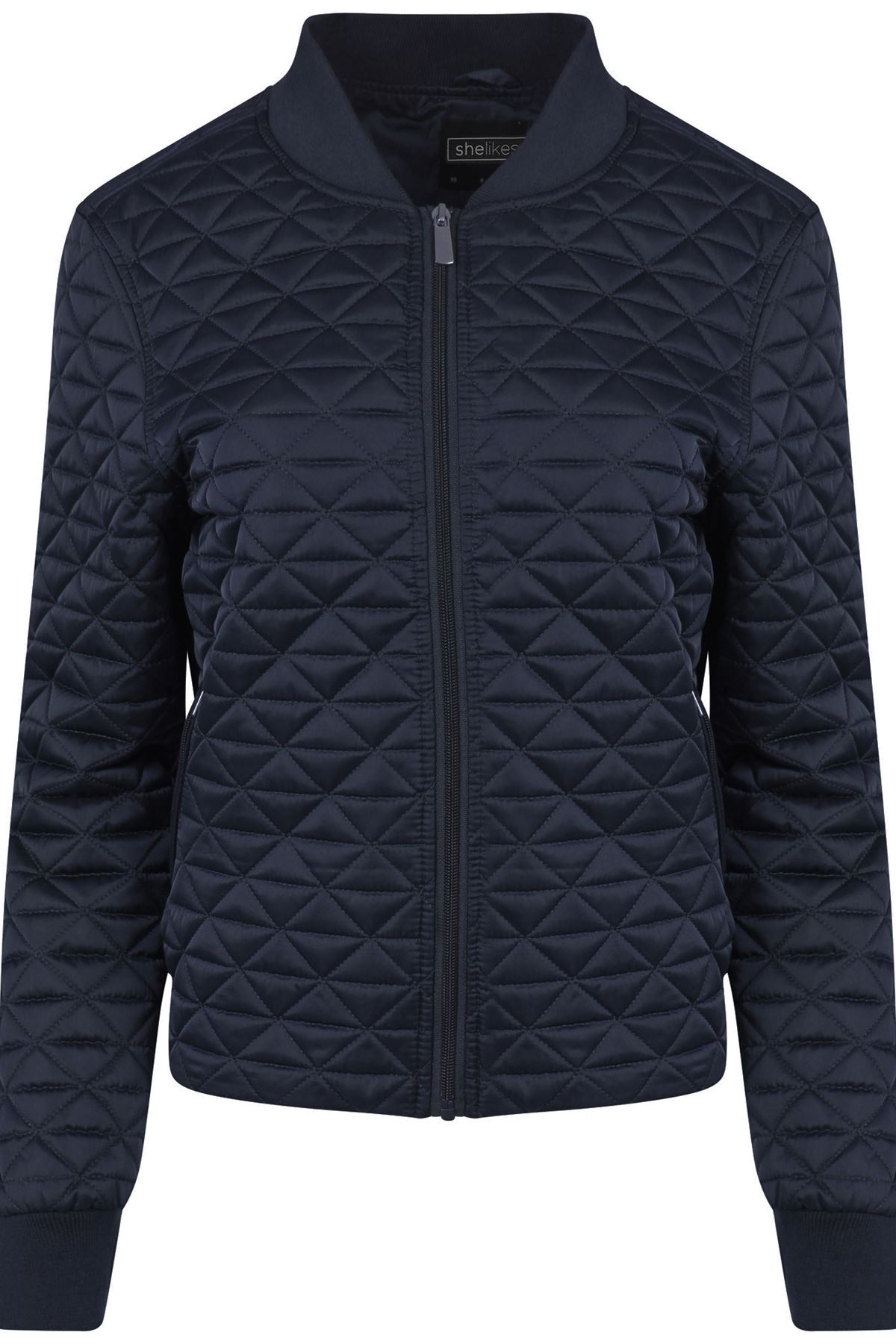 Womens Quilted Collared Zipped Autumn Navy Jacket ...