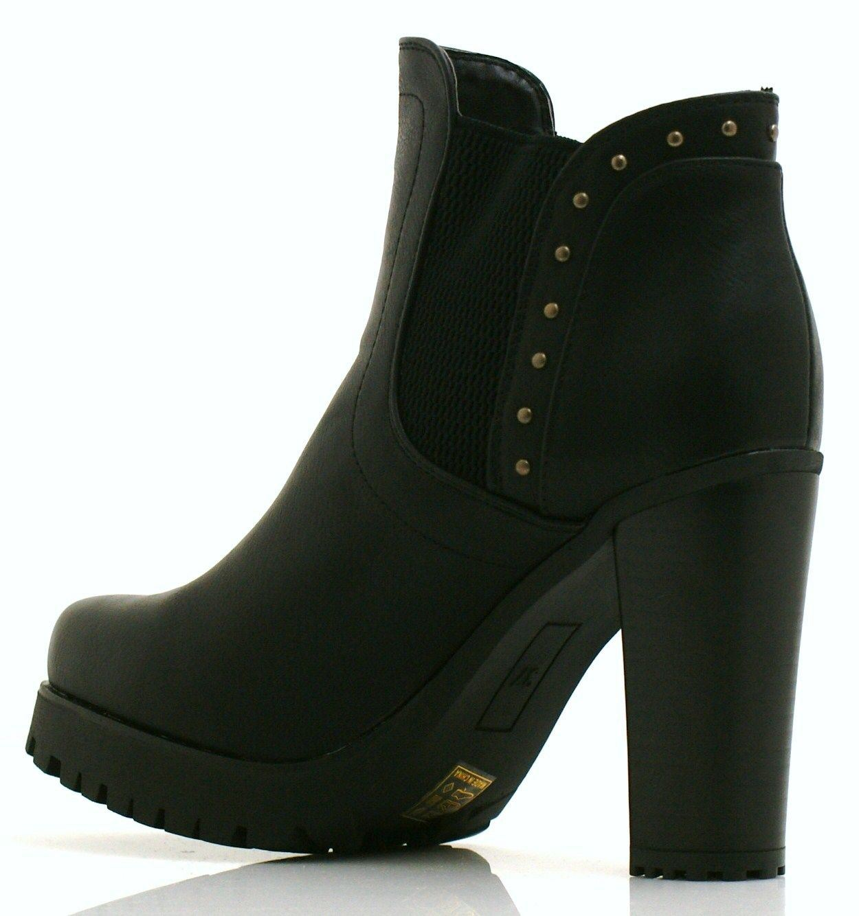 new womens chunky block high heel zip cleated ankle