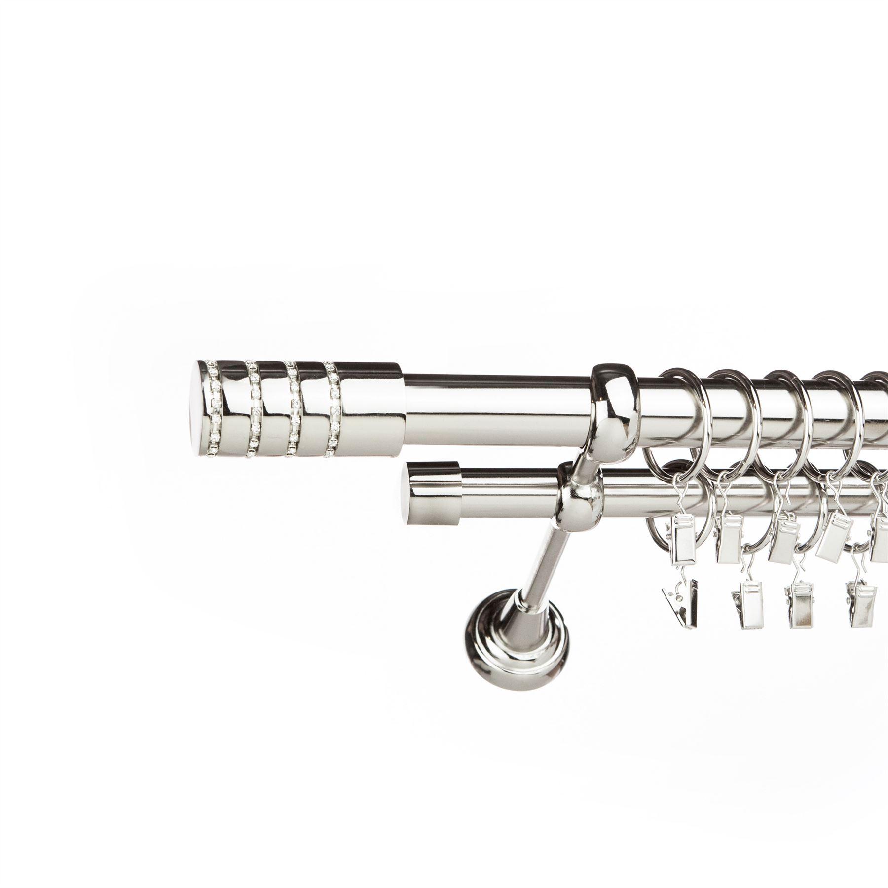 Metal Double Curtain Pole Rail Rod Set 25 19mm Inox
