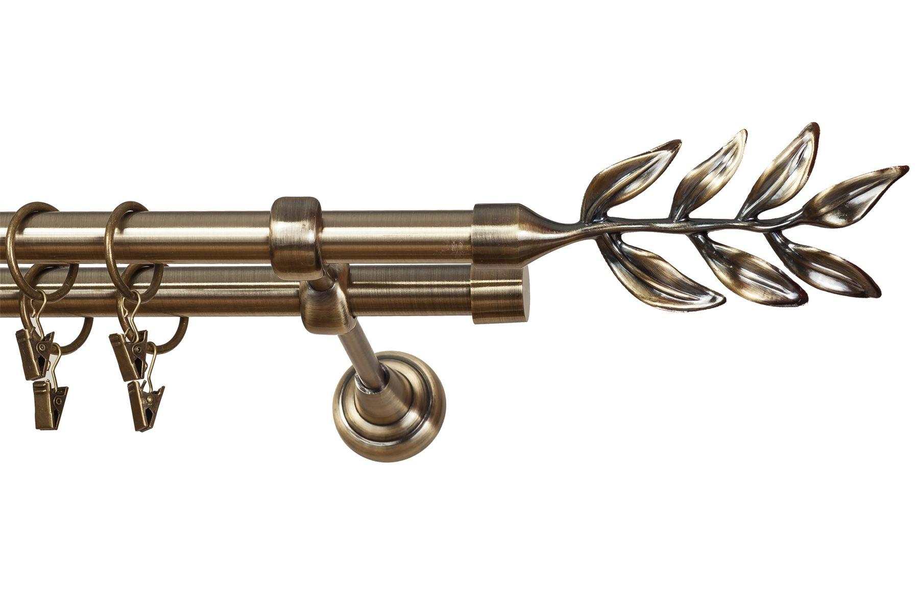 Metal Double Curtain Pole Rod Set 19mm Antique Brass Classic Bracket P1 Ebay