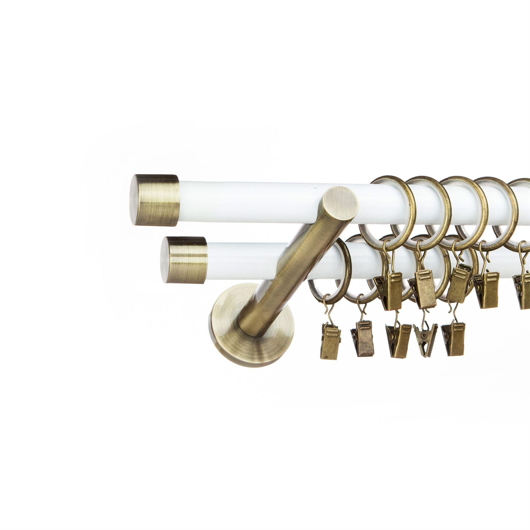 Metal Double Curtain Pole /Rod Set 19/19mm Antique Brass