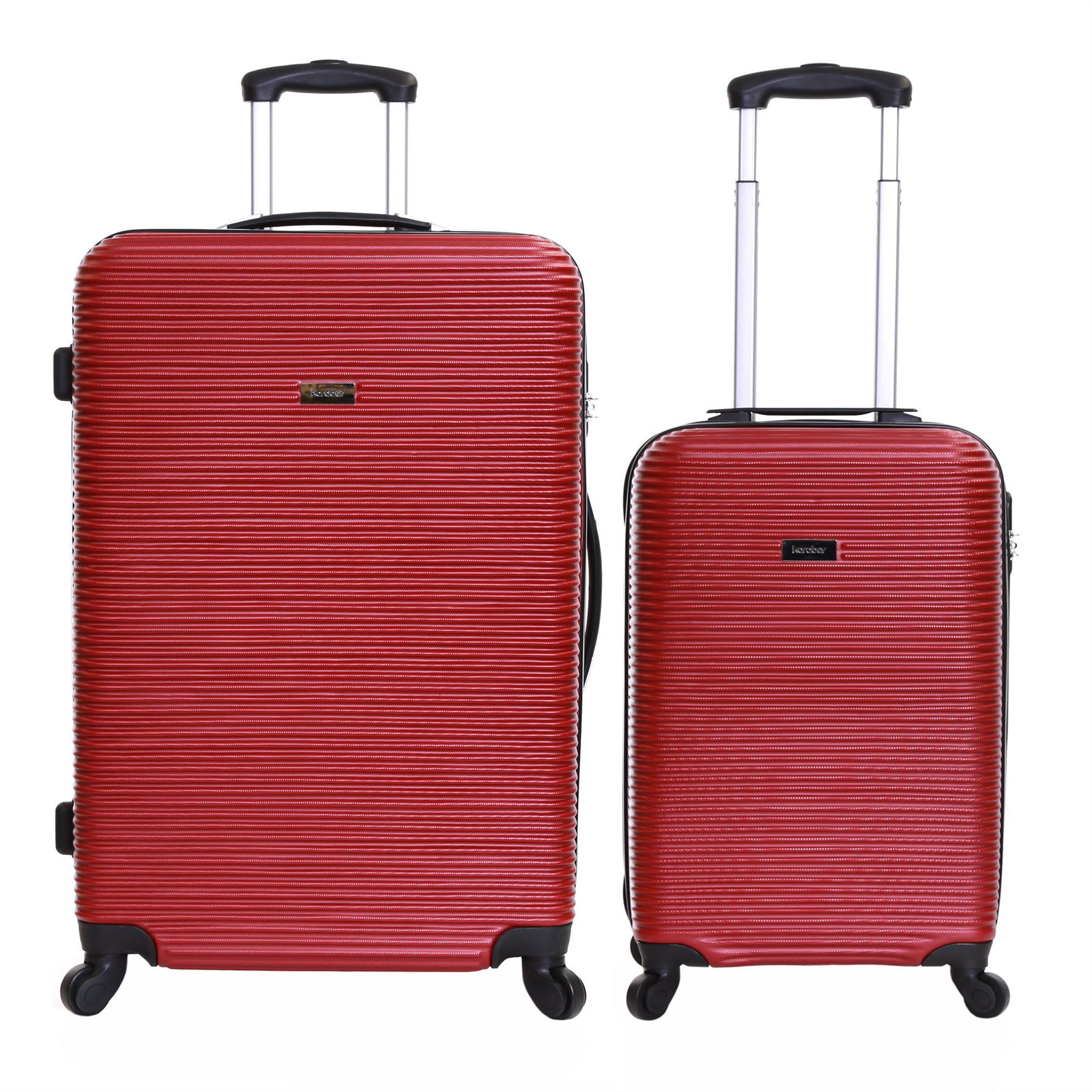 Karabar Set of 2 Hard Plastic 4 Wheeled Luggage Trolleys Suitcases ...