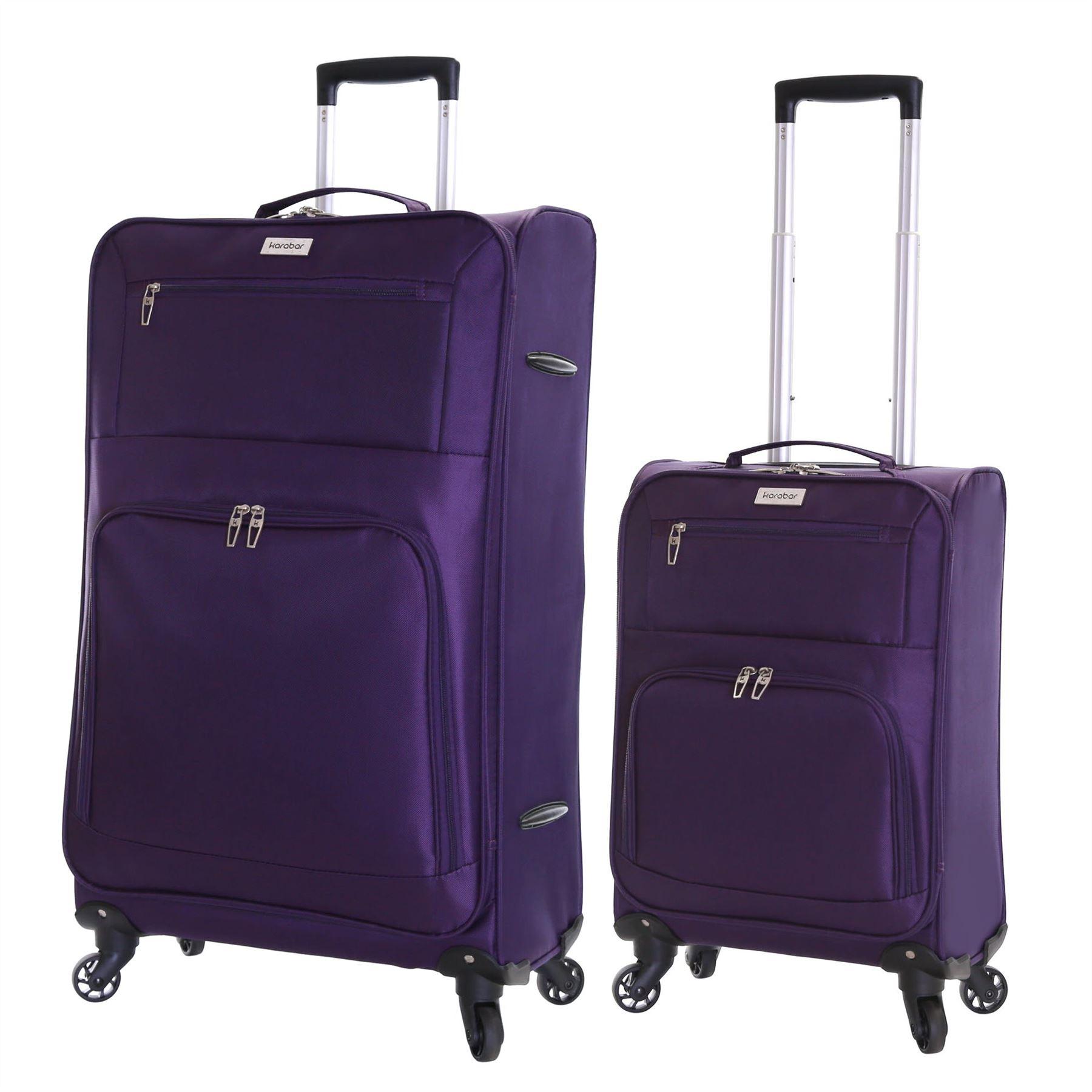 Set of 2 Ultra Lightweight 4 Wheeled Travel Luggage Trolleys ...