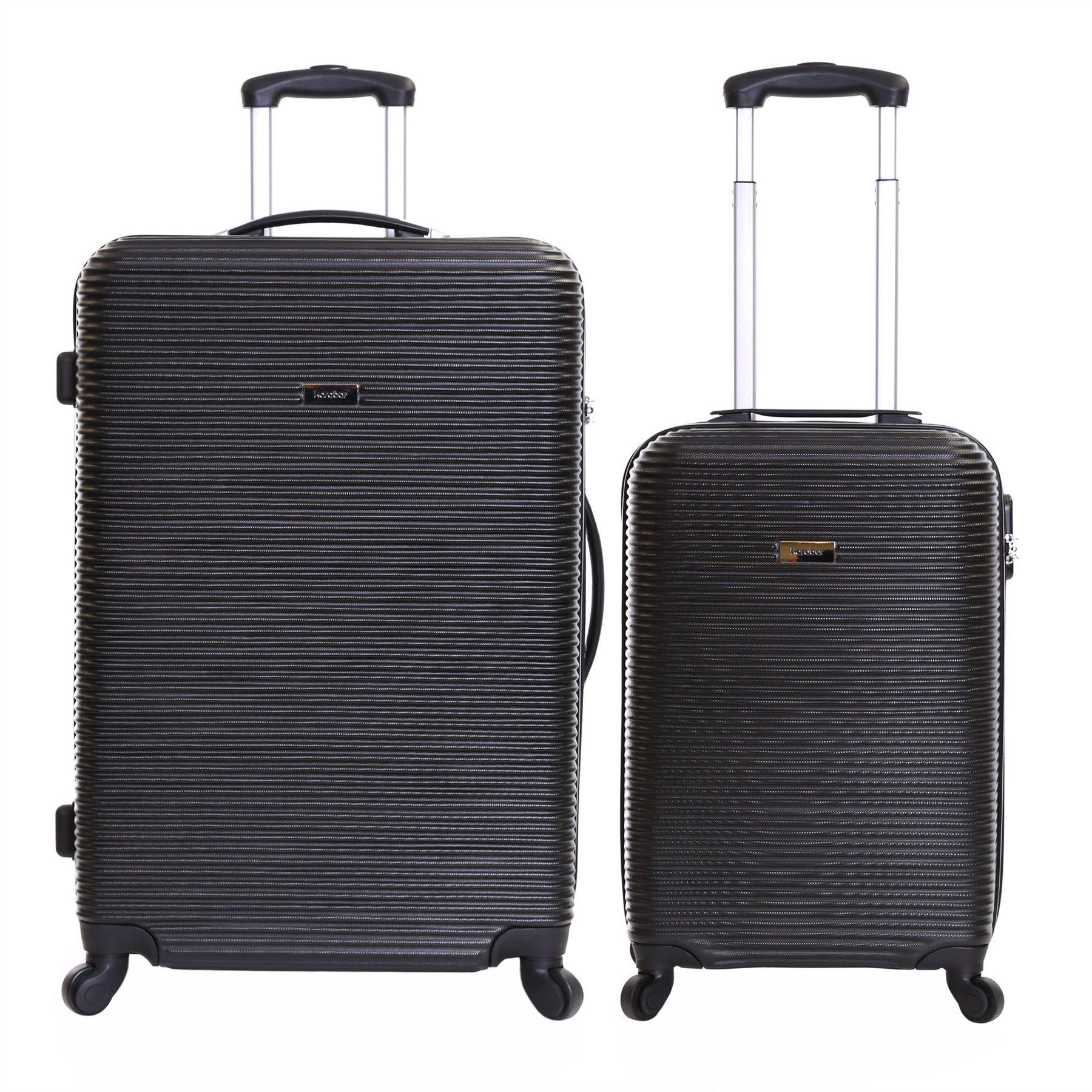 Karabar Set of 2 Hard Plastic 4 Wheeled Luggage Trolleys Suitcases ...
