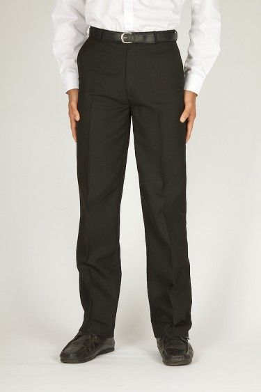 Grantham Prep International School Junior Charcoal Grey Flat Fronted Trousers made from a 65/35 polyester/viscose mix. Elasticated back waist, hook & bar fastening & side pockets.
