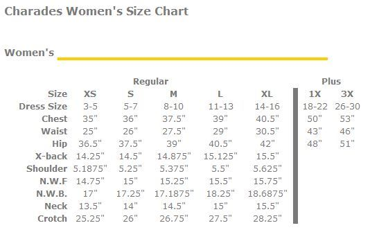charades women's size chart