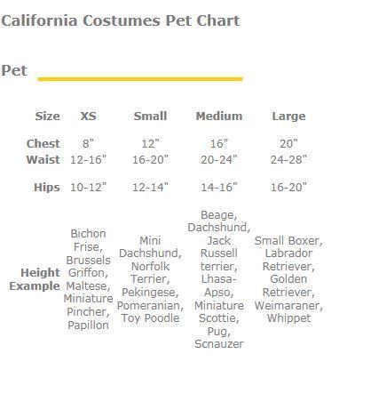 California Costumes Pet Dog Size Chart