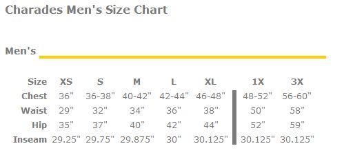 Charades men's size chart