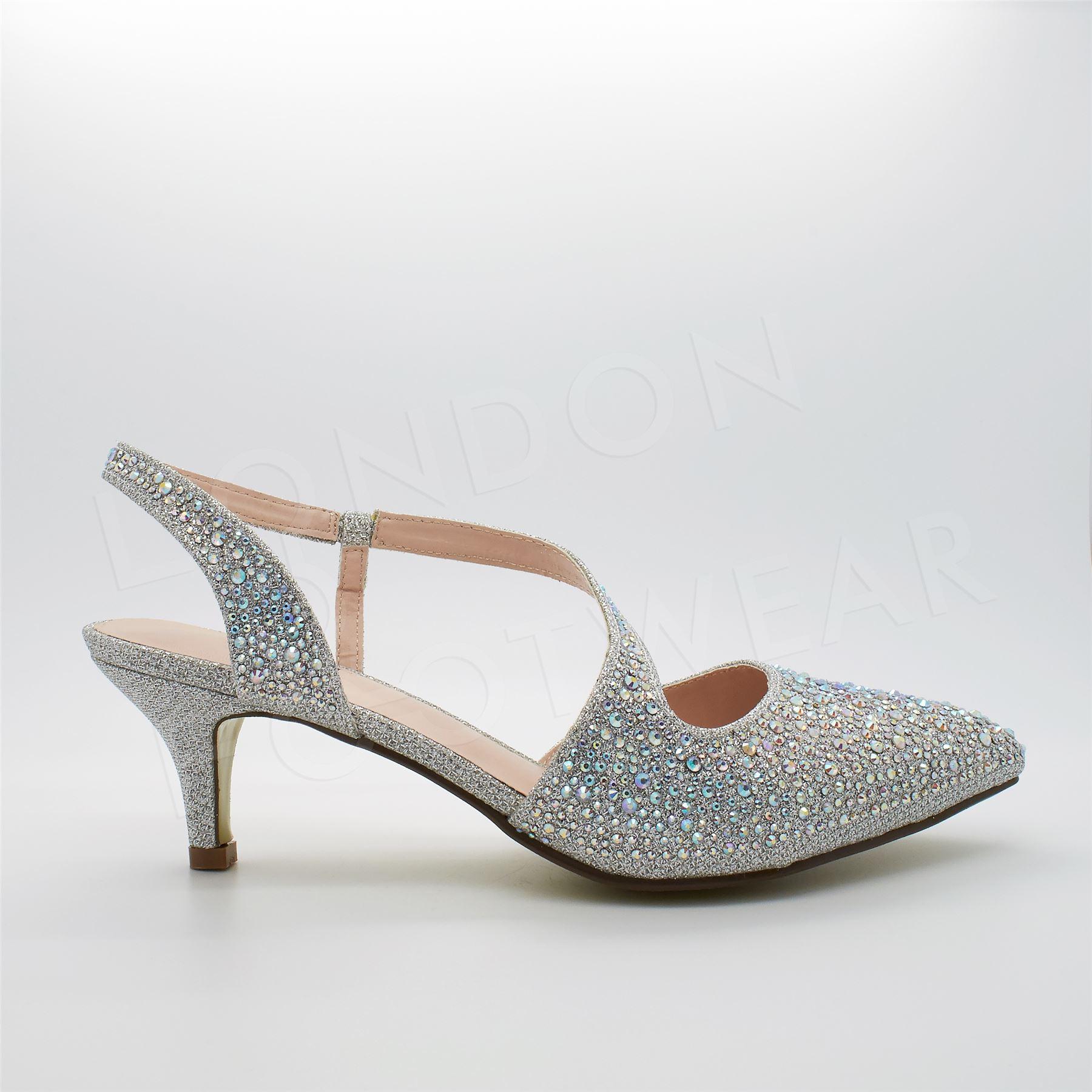 Womens Low Kitten Heel Diamante Sandals Ladies Evening ...