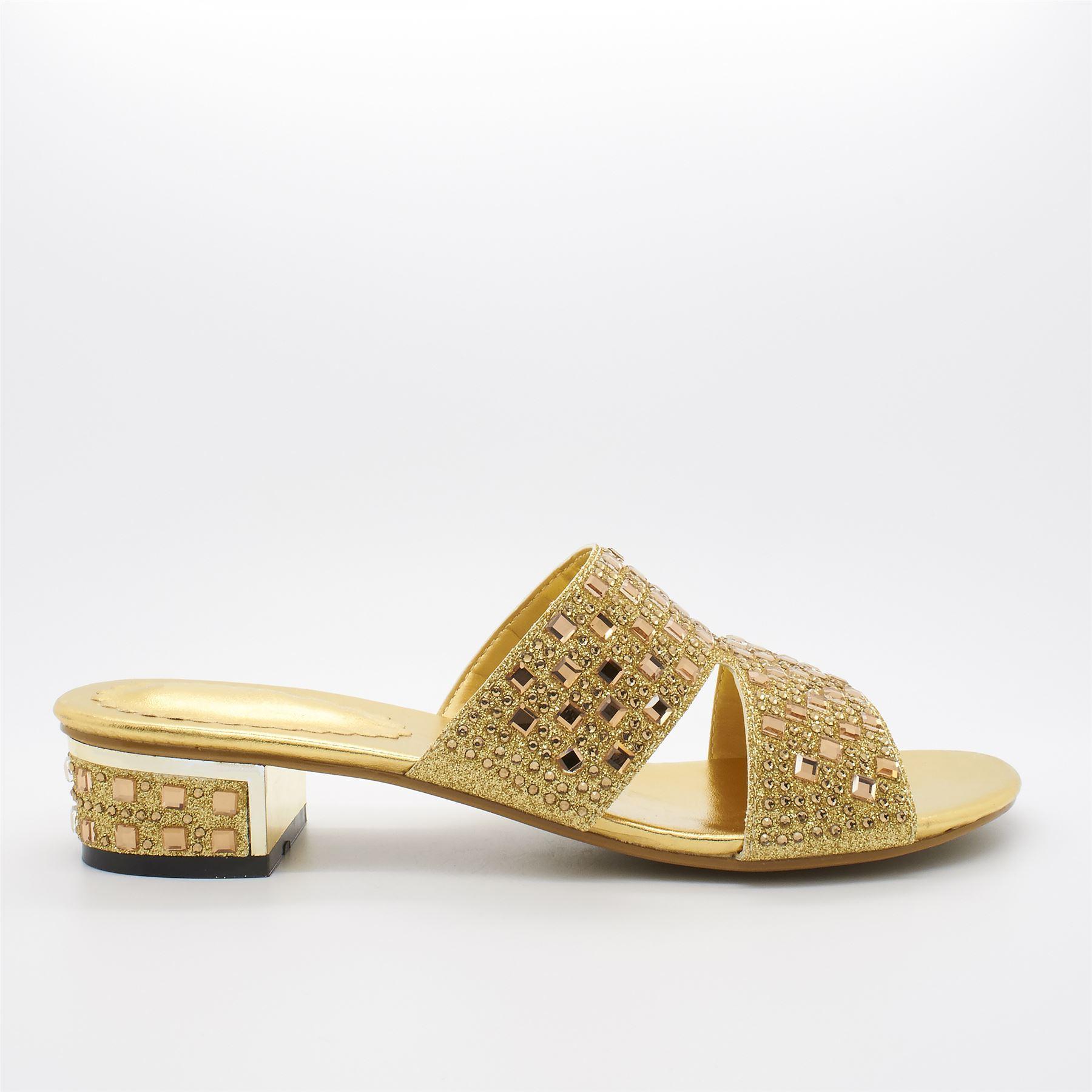 Womens Ladies Low Strappy Mules Sandals Evening Size Heel Diamante Block Slip On