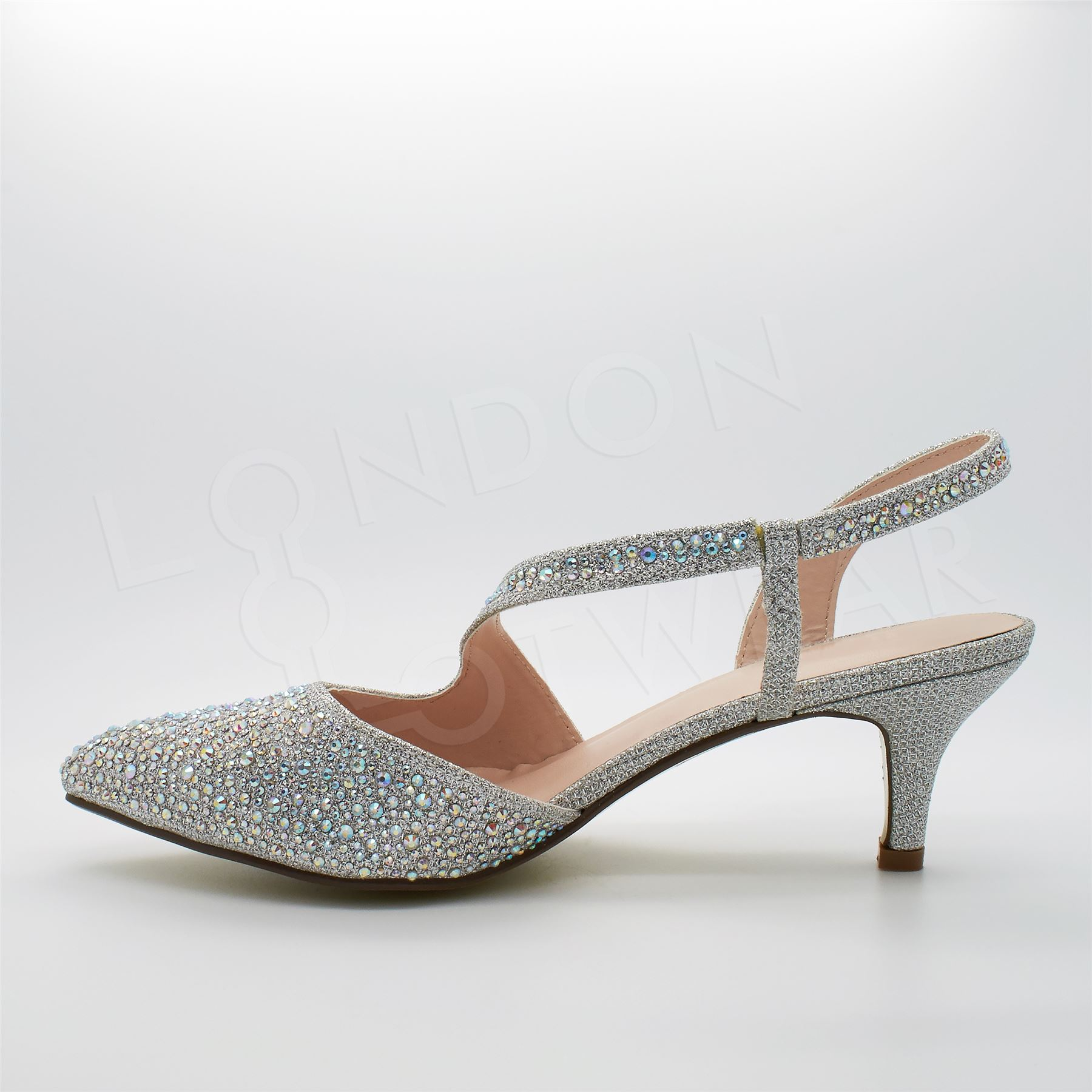 womens low kitten heel diamante sandals evening