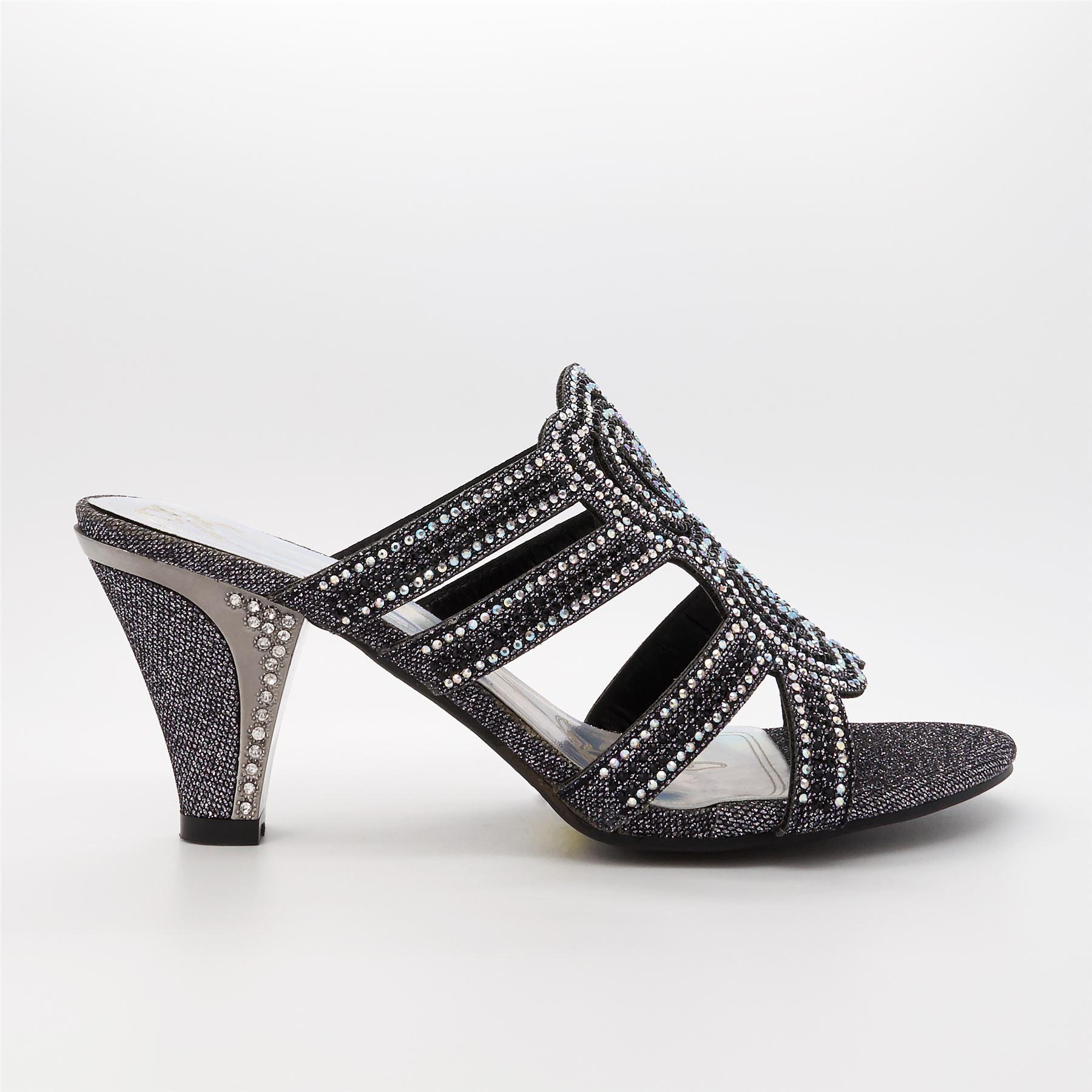 Womens Ladies Diamante Wedding Low Mid Heel Sandals