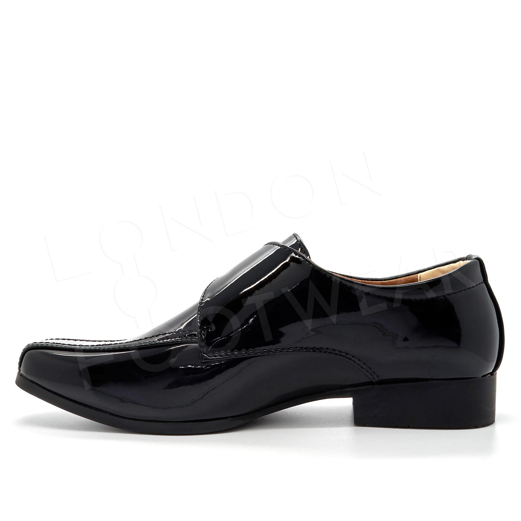 New Boys Formal Black Patent Slip On Shoes Kids Smart