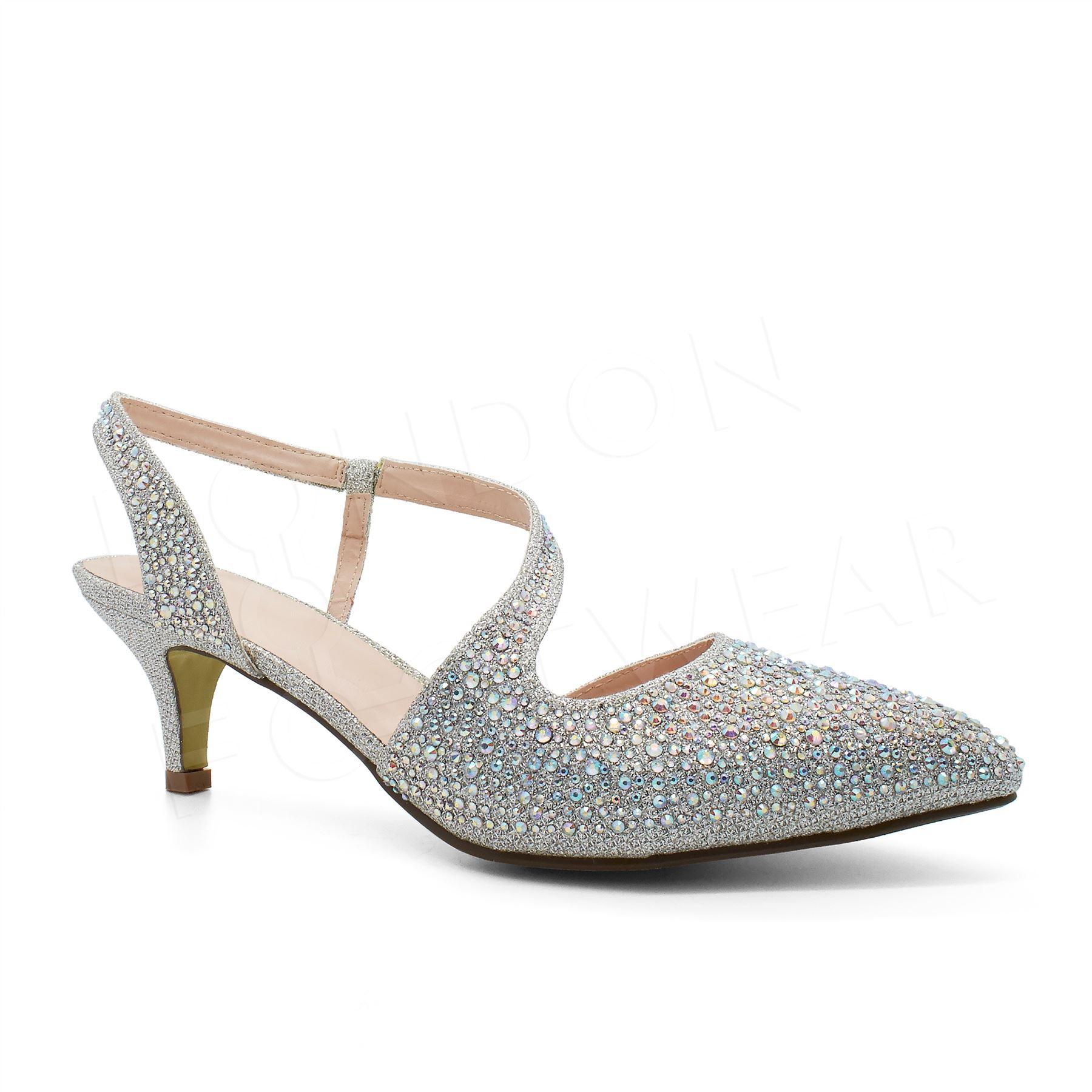 Womens Low Kitten Heel Diamante Sandals Ladies Evening
