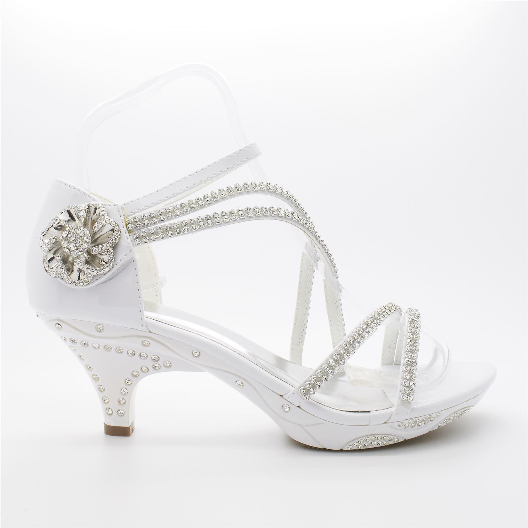Wedding Kitten Heels: Bridal Shoes Size Womens Ladies Diamante Wedding Low