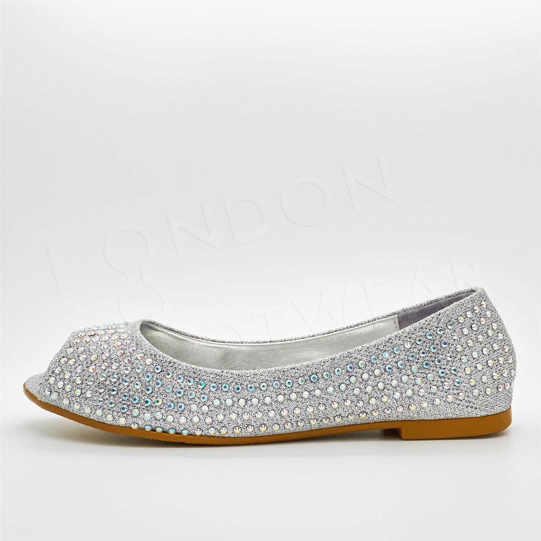 New Womens Diamante Ballet Flats Peep Toe Pumps Ladies Ballerinas Dolly Shoes UK | EBay