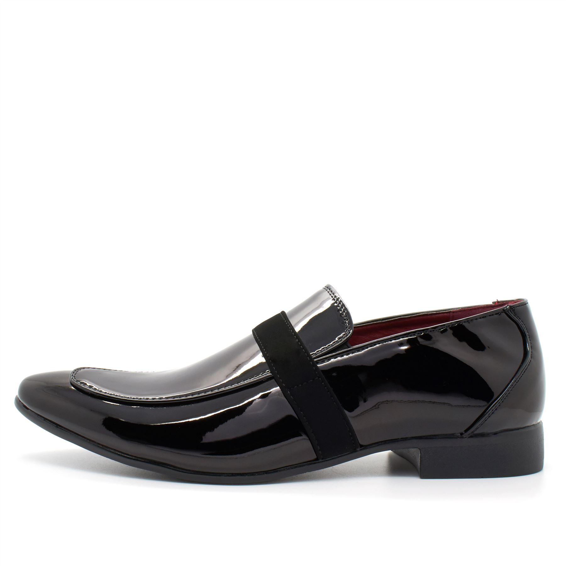 new mens italian style black patent leather shoes smart slip on formal shiny uk ebay