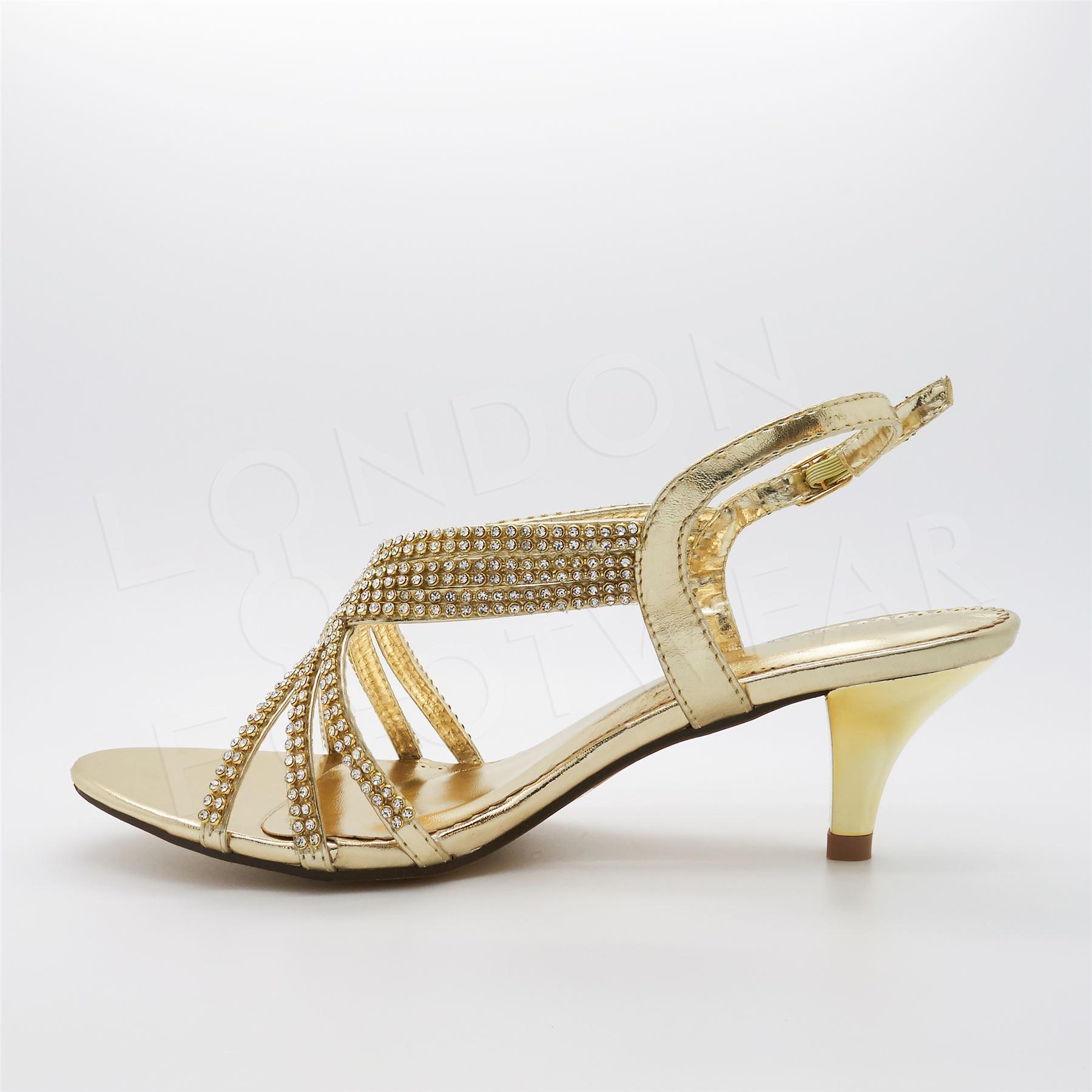 Wedding Kitten Heels: Womens Diamante Prom Sandals Ladies Low Kitten Heel