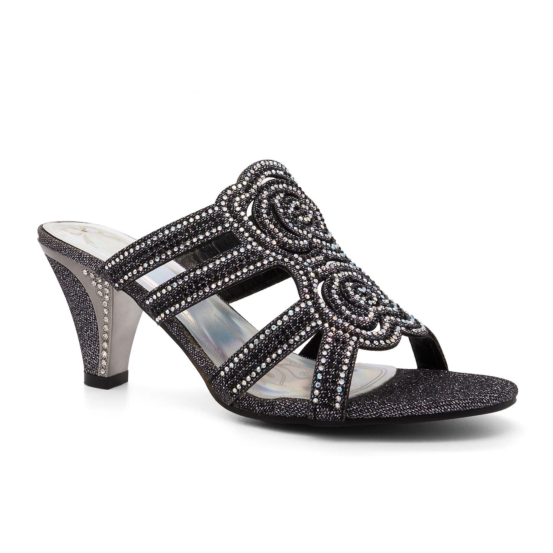 Womens-Ladies-Diamante-Wedding-Low-Mid-Heel-Sandals-