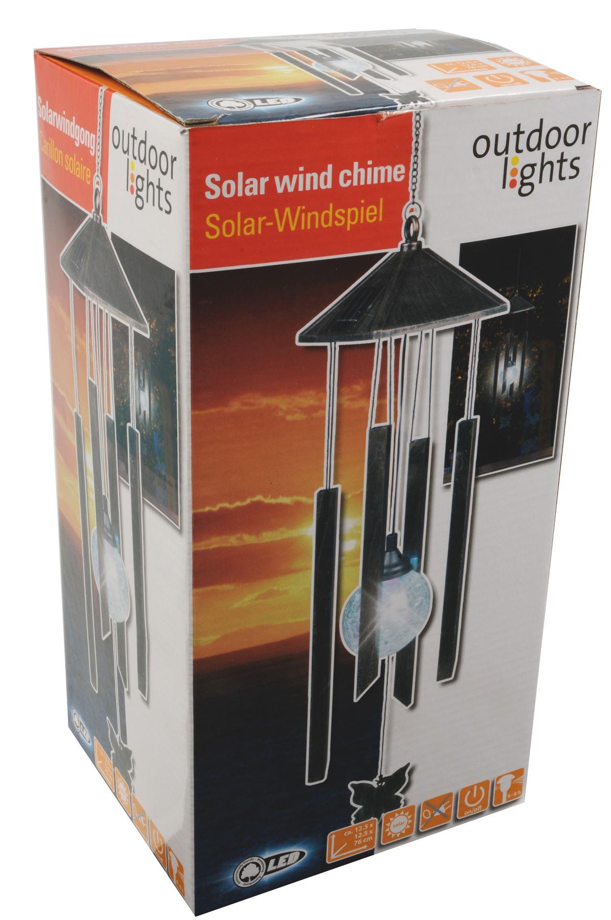 solar led wind chime black for outdoor lights with on off. Black Bedroom Furniture Sets. Home Design Ideas