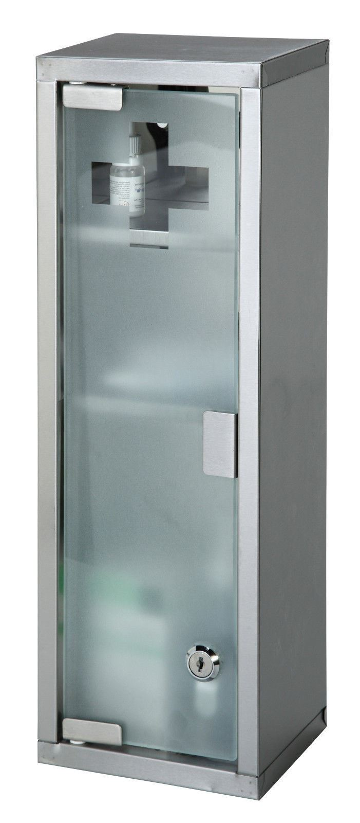 large wall mountable medicine cabinet cupboard first aid lockable glass door new ebay. Black Bedroom Furniture Sets. Home Design Ideas