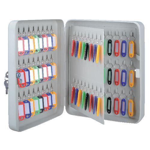Key Cabinet Gray Metal Box Storage Multi Key Holder For