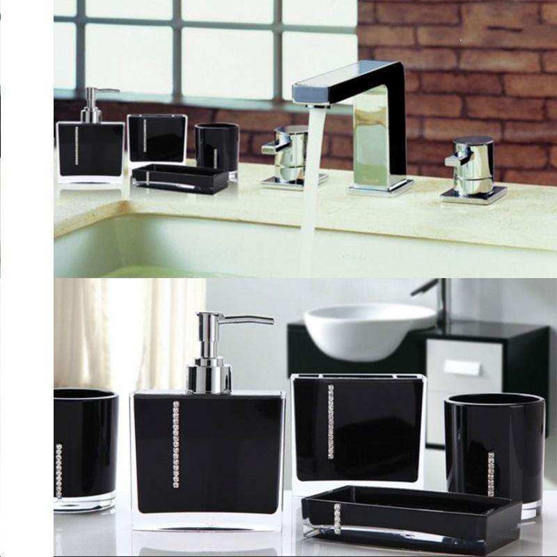 Luxury 4pcs Sets Acrylic Bathroom Accessory Black Set Diamond Studded Set