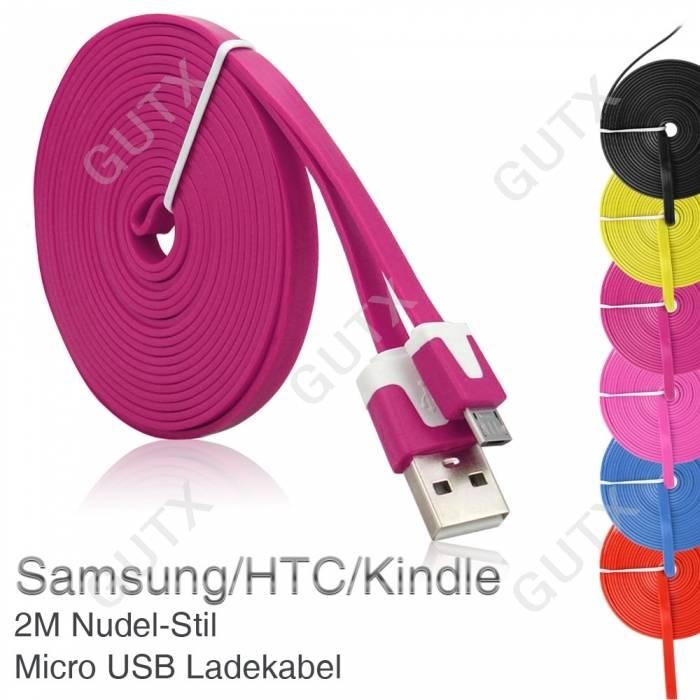 2m nudel stil micro usb kabel ladekabel datenkabel samsung galaxy s4 note s3 s 2 ebay. Black Bedroom Furniture Sets. Home Design Ideas